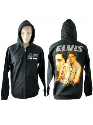 "Unisex Hoodie With Elvis ""The King"" Print - Black"