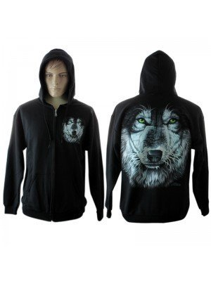 Men's White Wolf Printed Hoodie With Green Eyes