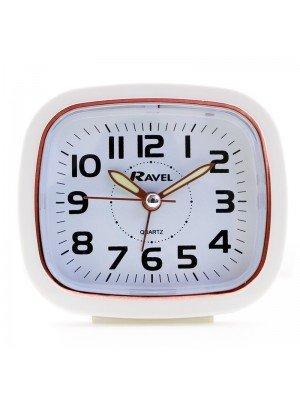 Wholesale Ravel Quartz Alarm Clock with Light - White & Rose Gold
