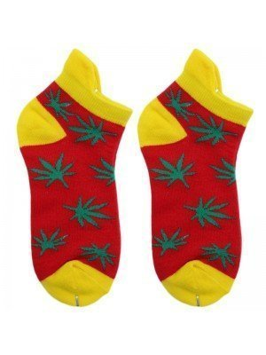 Wholesale Leaf Rasta Trainer Socks - Red & Yellow