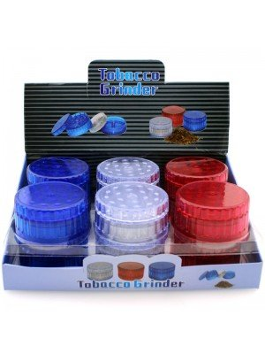 Wholesale 4-Part Acrylic Tobacco Grinder - Assorted Colours