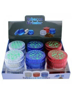 Wholesale 4-Part Acrylic Tobacco Grinder - Grass Leaf - Assorted Colours