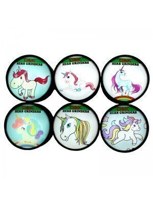 Wholesale 3-Part Metal Unicorn Themed Grinder - Assorted