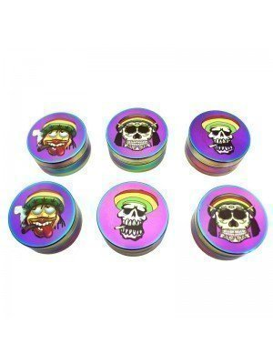 Wholesale 3-Part Metal Grinder - Rasta Decals - Multicolour - Assorted