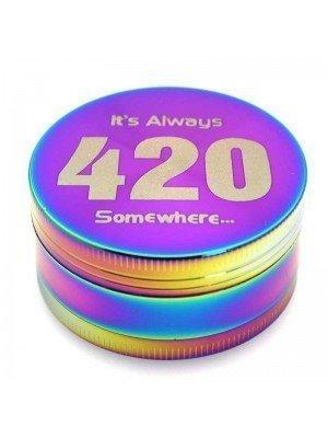 """Wholesale 3-Part Metal Multicolour Grinder - """"It's Always 420 Somewhere..."""""""