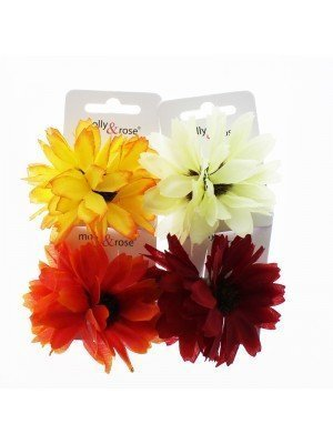 Ladies Flower Design Squeeze Hair Clips - Assorted Colours