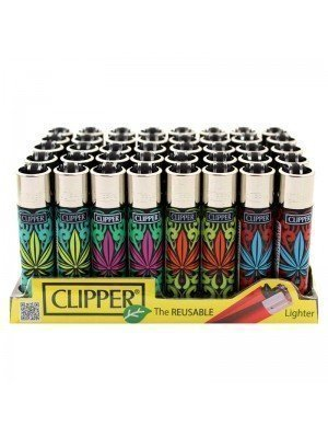 Wholesale Clipper Flint REUSABLE Lighters - Pop Leaves