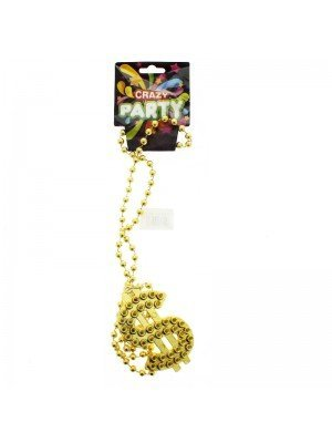 Gold Dollar Sign Beaded Necklace