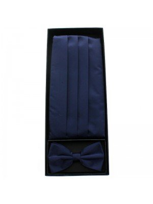 Men's Bow Tie With Sash Belt - Navy Blue