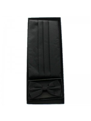 Men's Bow Tie With Sash Belt - Black