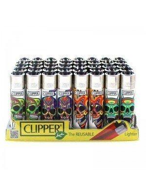 Wholesale Clipper Flint REUSABLE Lighters - Melting Skulls