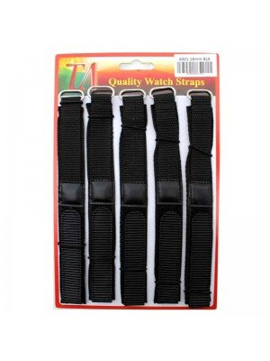Wholesale Allure Black Velcro Watch Straps - 18mm
