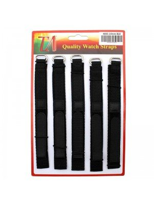 Wholesale Allure Black Velcro Watch Straps - 14mm