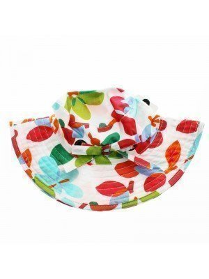 Children's Girls Leaf Design Sun Hats With Bow - Assorted Colours