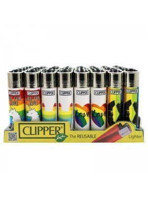 Wholesale Clipper Flint REUSABLE Lighters - Love Rainbow