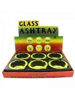Wholesale Glass Round Ashtrays - Smiley Faces Designs
