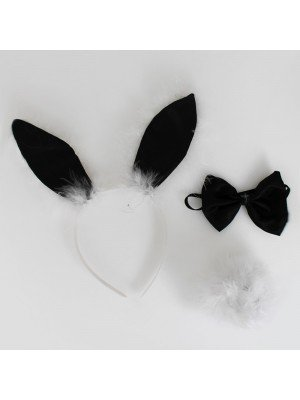 Animal And Ear Set - Bunny Design White & Black