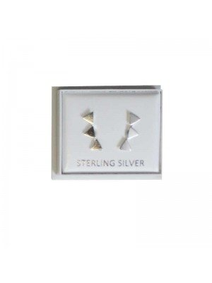 Sterling Silver Three Triangles Studs - Approx 15mm