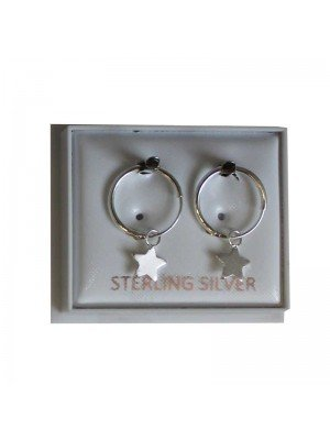 Sterling Silver Star Hoop Earrings - Approx 12mm