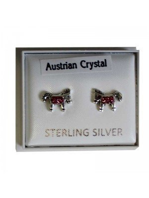 Sterling Silver Horse Studs (Austrian Crystal) - Approx 10mm