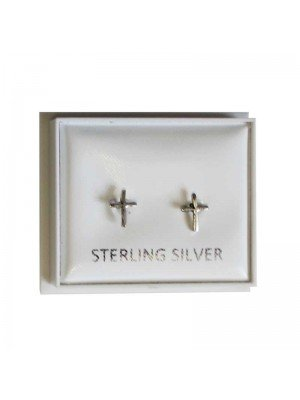 Sterling Silver Cross Studs - Approx 5mm
