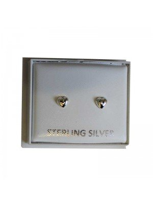 Sterling Silver Heart Studs - Approx 4mm