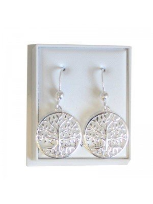 Sterling Silver Tree of Life Earrings - Approx 15mm