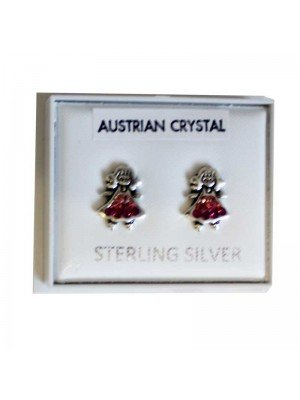 Sterling Silver Girl Studs (Austrian Crystal) - Approx 8mm