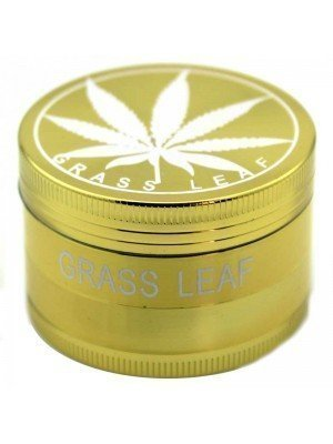 Wholesale 4 Parts Metal Grinder - Grass Leaf - Gold