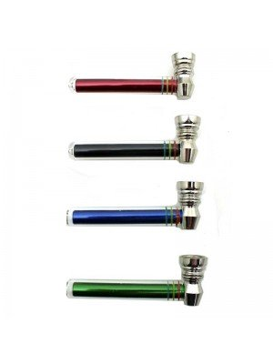 Wholesale D&K Metal Smoking Pipe with Glass - 9.5 cm