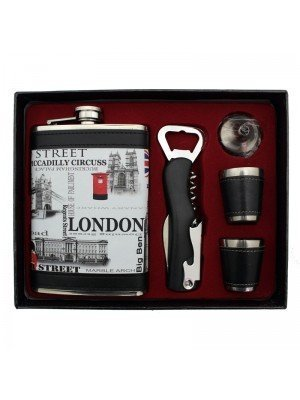 Wholesale Upholstered Hip Flask Gift Set - London