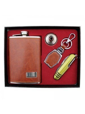 Wholesale Upholstered Hip Flask Gift Set - Brown