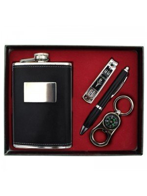 Upholstered Hip Flask with Pen, Compass and Nail-clipper Gift Set