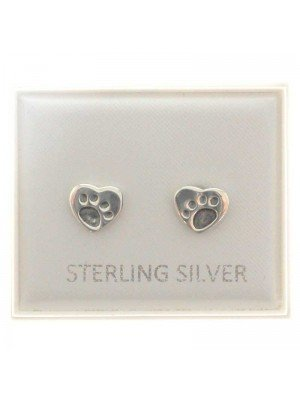 Sterling Silver Paws on Heart Studs - Approx 7mm