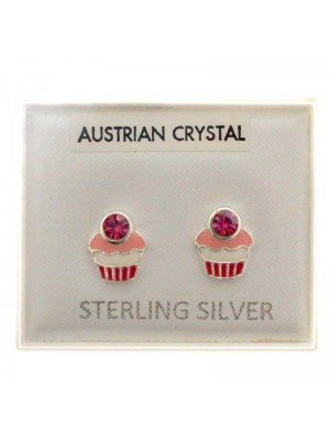 Sterling Silver Cupcakes Studs (Austrian Crystal) - Approx 6mm