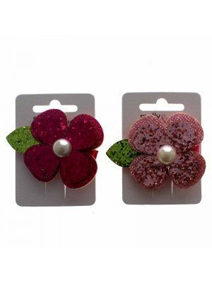 Molly & Rose Glitter Flower Forked Clip with Pearl Bead Centre - Assorted Designs