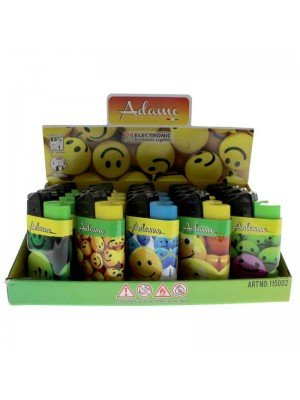 Adamo Refillable Lighters (Smiley Face Theme) - Assorted Designs