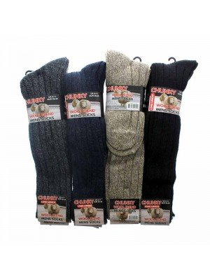 Mens Long Length Wool Blend Socks - Assorted Colours