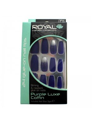 Wholesale Royal Glue-On Nail Tips - Purple Luxe Coffin (24 Nails)