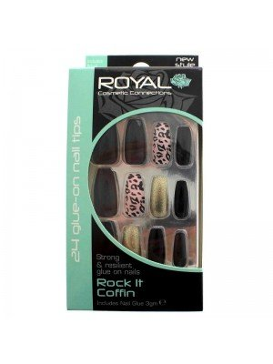 Royal Glue-On Nail Tips - Rock It Coffin (24 Nails)