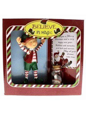 Christmas Elf Figure With Wishes Jar