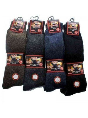 Wholesale Men's Wool Blend Thermal Boot Socks Long Length - (Size: UK 6-11; EUR 39-45)