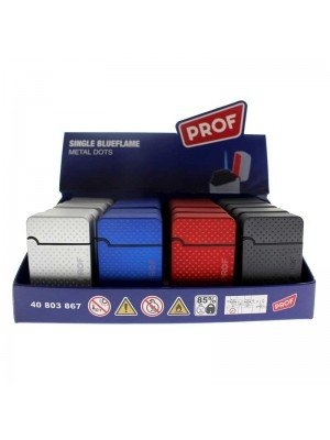 PROF Single Blue Flame Refillable Lighter - Metal Dots (Assorted Colours)