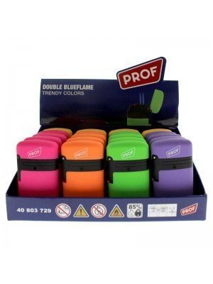 PROF Double Blue Flame Refillable Lighter - Assorted Colours