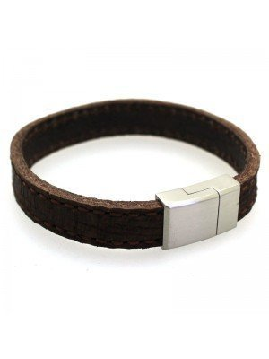 Wholesale Tribal Steel - Stitched Leather Bracelet with Magnetic Clasp - 21 cm - Brown