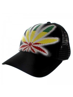 Rasta Coloured Cannabis Leaf Baseball Cap - Black