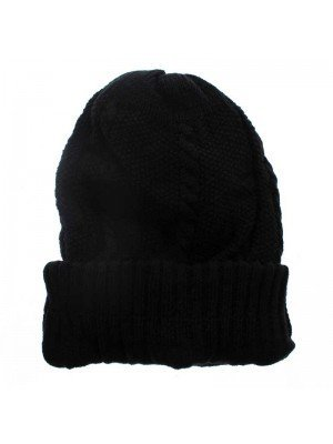 Knitted 100% Acrylic Beanie Hat - Black