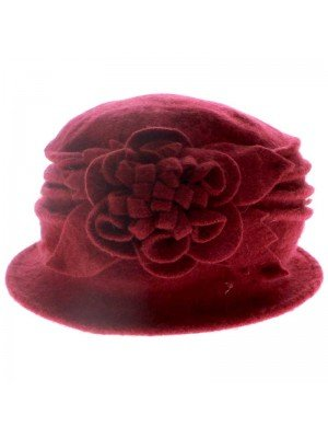Ladies Wool Cloche Hat - Flower Design (Red)