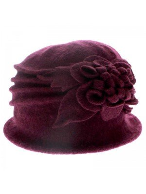 Ladies Wool Cloche Hat - Flower Design (Burgundy)