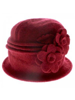 Ladies Wool Beret Hat - Two Flowers Design (Red)